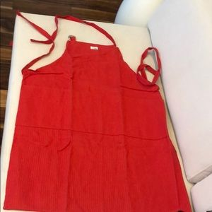 ALL-CLAD RED STRIPED APRON 3 FRONT POCKETS